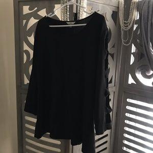 Terra & Sky soft black lightweight cotton sweater